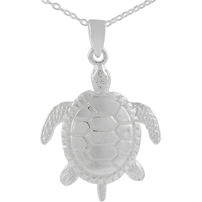 Journee Collection  Sterling Silver Moveable Sea Turtle Pendant