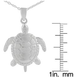 Journee Collection  Sterling Silver Moveable Sea Turtle Pendant - Thumbnail 2