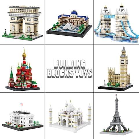 Coutlet World Architecture Building Block Set The Louvre the Arc de Triomphe Brick Set Model Bricks Kids Gifts