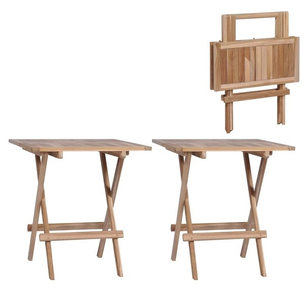 "Folding Bistro Tables 2 pcs 23.6""x23.6""x25.6"" Solid Teak"