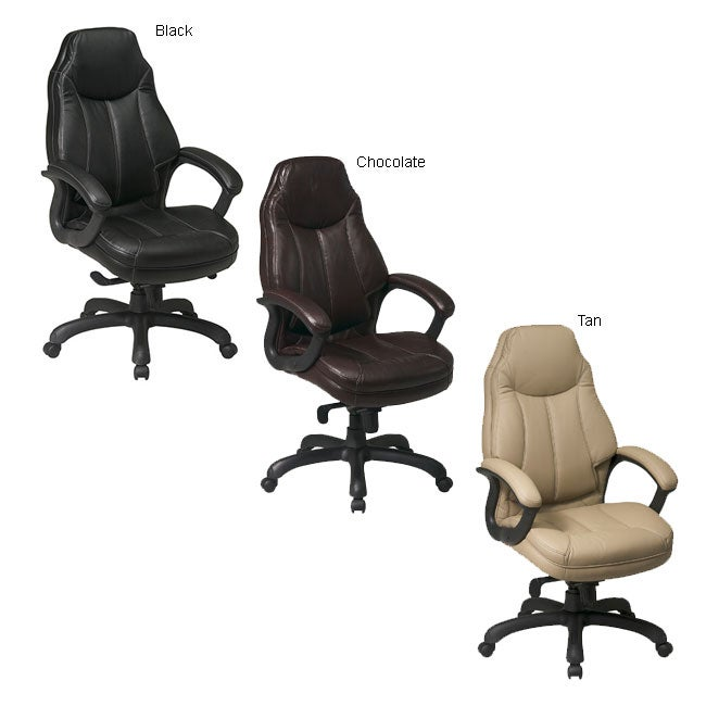 office star high back faux leather executive chair with lumbar support free shipping today. Black Bedroom Furniture Sets. Home Design Ideas