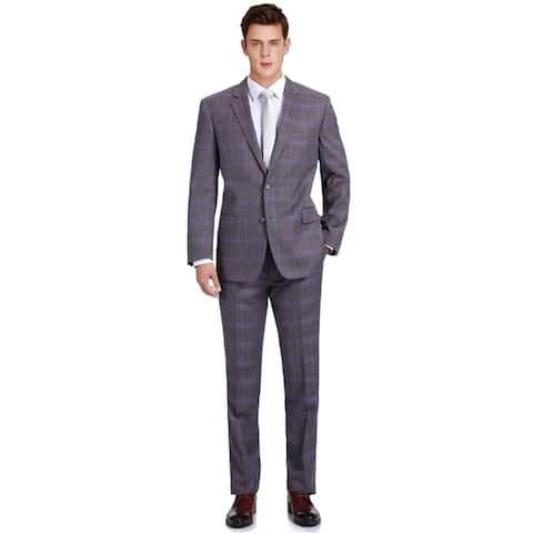 Men's 2 Piece Suit Classic-Fit Notch Lapel Two Button Plaid Suit