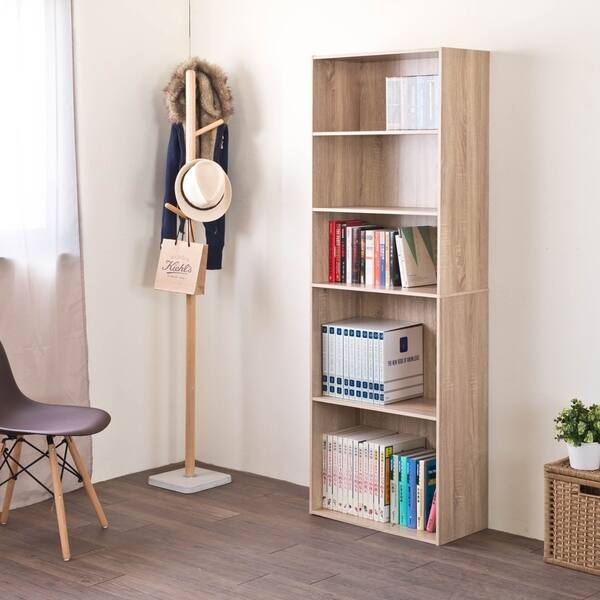 Heavy Duty DIY 5-Shelf Storage Bookcase Premium Laminated Wood Board Organizer