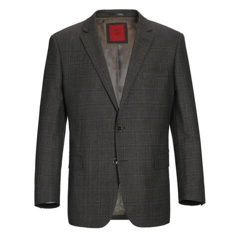 Verno Men's Premium Wool Classic Fit Sport Coat Suit Jacket Plaid Blazer