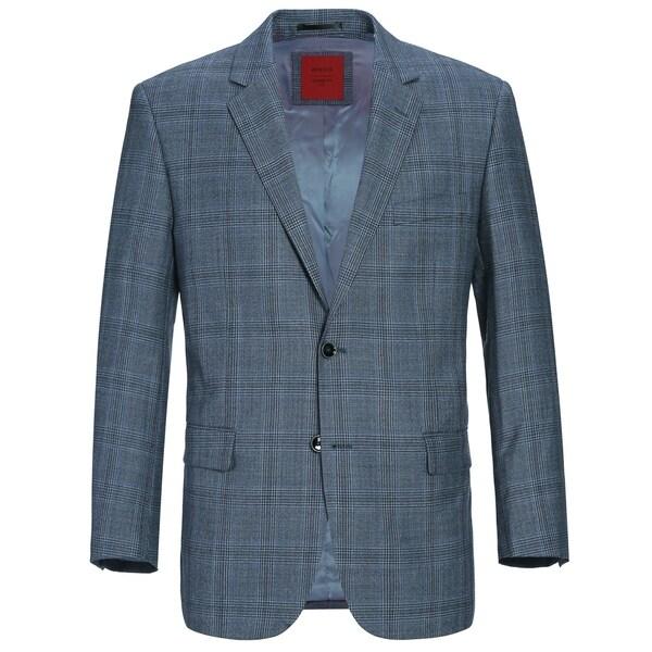 Verno Men's Classic Fit Windowpane Plaid Wool Sport Coat. Opens flyout.