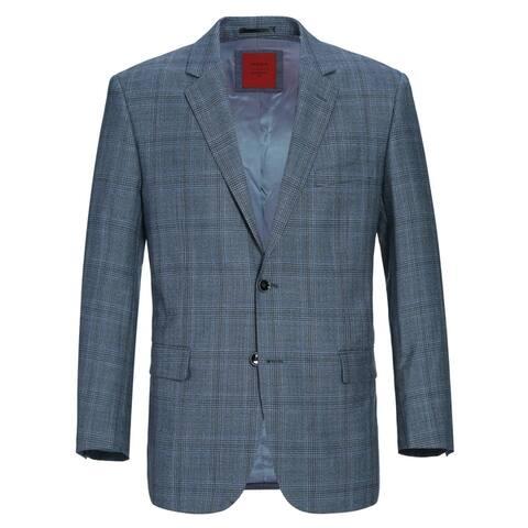 Verno Men's Classic Fit Windowpane Plaid Wool Sport Coat