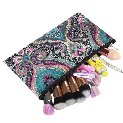 Zodaca Women Small Cosmetic Bag Case Makeup Organizer for Business Trip Camping Hiking Backpacking Travel - Blue Paisley