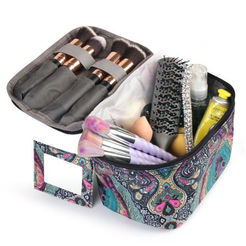 Zodaca Women Compact Small Cosmetic Makeup Bag for Business Trip Camping Hiking Backpacking Travel - Blue Paisley