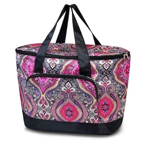 Zodaca Women Large Leak Resistant Cooler Bag Tote Carry Bag for Park Beach Picnic Camping - Pink Paisley