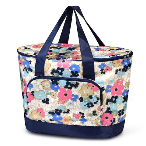Zodaca Women Large Leak Resistant Cooler Bag Tote Carry Bag for Park Beach Picnic Camping - Ocean Bloom Flower