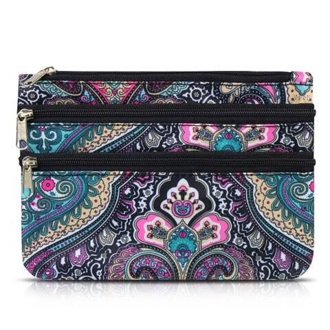 Zodaca Women Lightweight Portable Coin Purse Wallet Bag Cosmetic Makeup Case - Blue Paisley