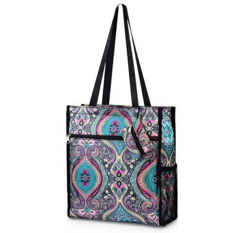 Zodaca Women All Purpose Handbag Tote Carry Bag with Coin Purse for Shopping Travel - Blue Paisley
