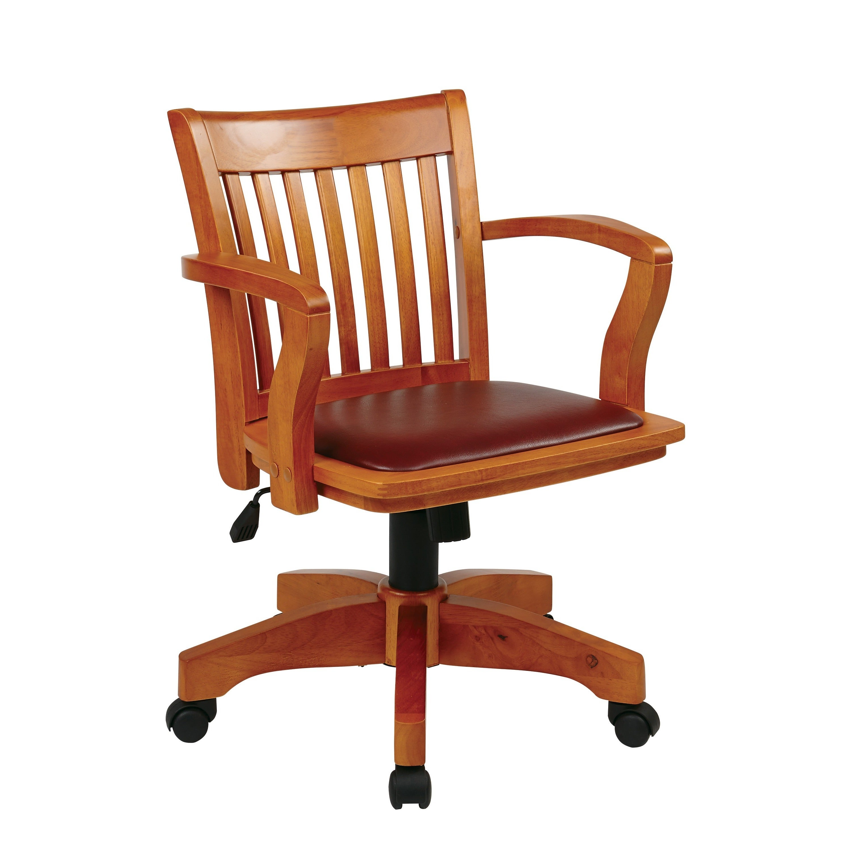 Copper Grove Wilbur Vintage Padded Wood Banker's Chair - Brown
