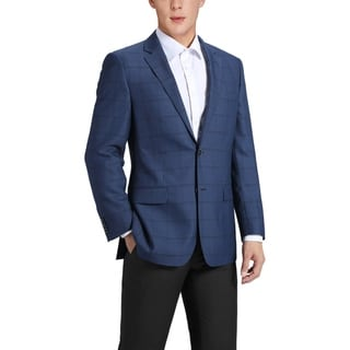 Link to Men's Classic Fit Blue Windowpane Blazer Wool-Blend Sports Jacket Similar Items in Sportcoats & Blazers