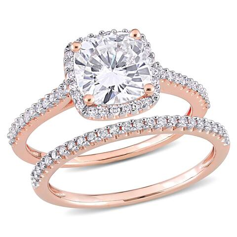 Miadora 2ct DEW Cushion-cut Moissanite and 1/3ct TDW Diamond Halo Bridal Ring Set in 14k Rose Gold