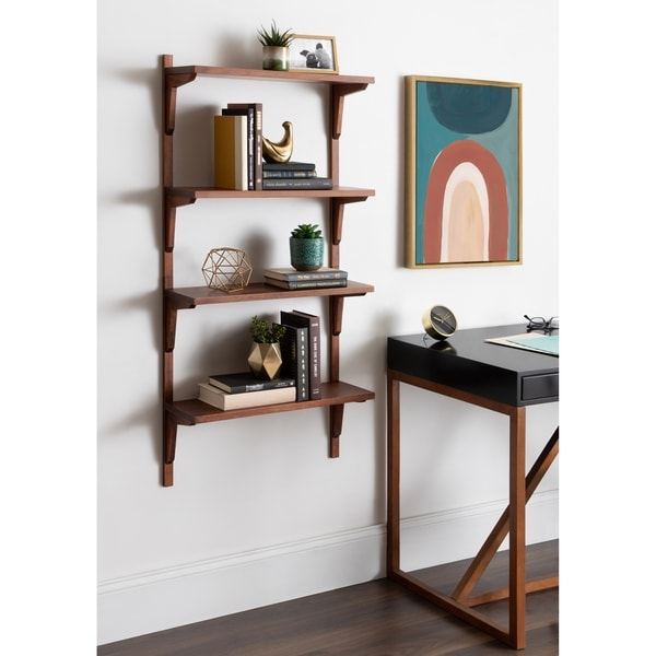 Kate and Laurel Meridien Mid-Century Wall Shelves - 24x8x24