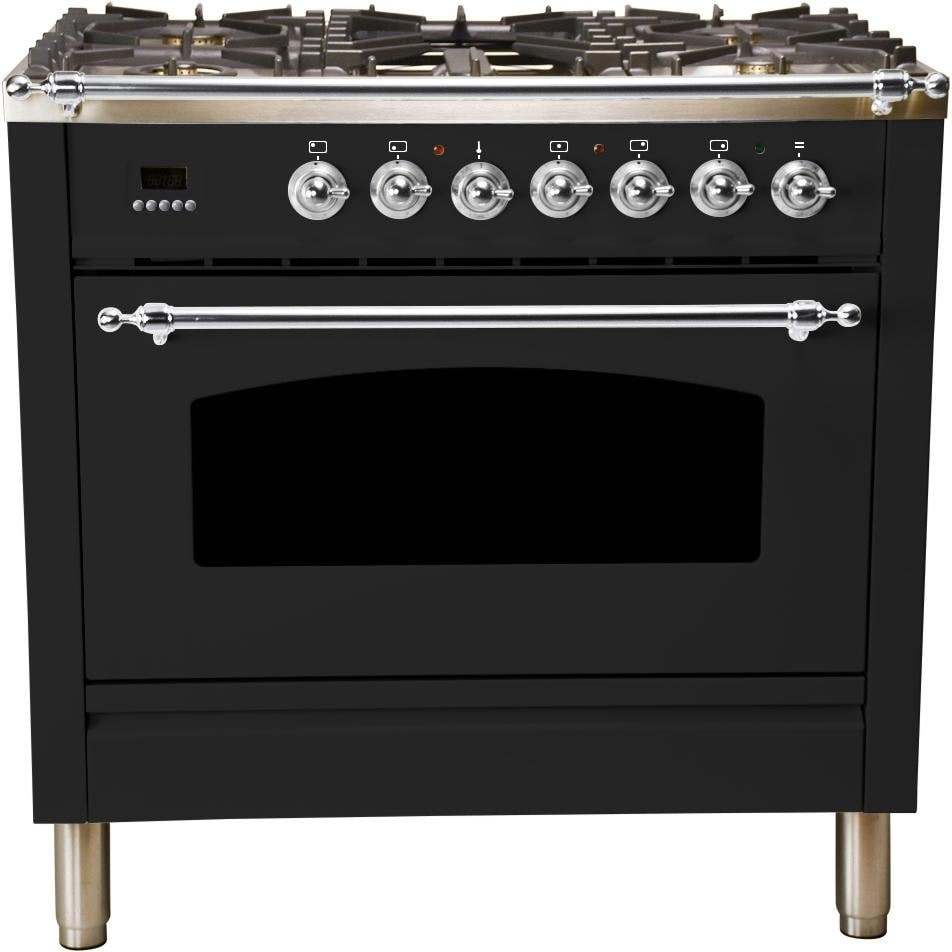 """Overstock Ilve UPN90FDMPNX 36"""" Nostalgie Series Dual Fuel Natural Gas Range, with Chrome Trim, in Glossy Black"""