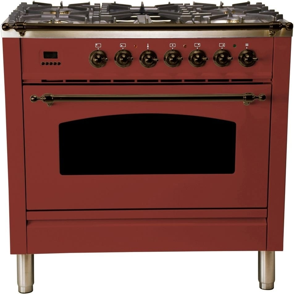 """Overstock Ilve UPN90FDMPRBY 36"""" Nostalgie Series Dual Fuel Natural Gas Range, with Bronze Trim, in Burgundy"""