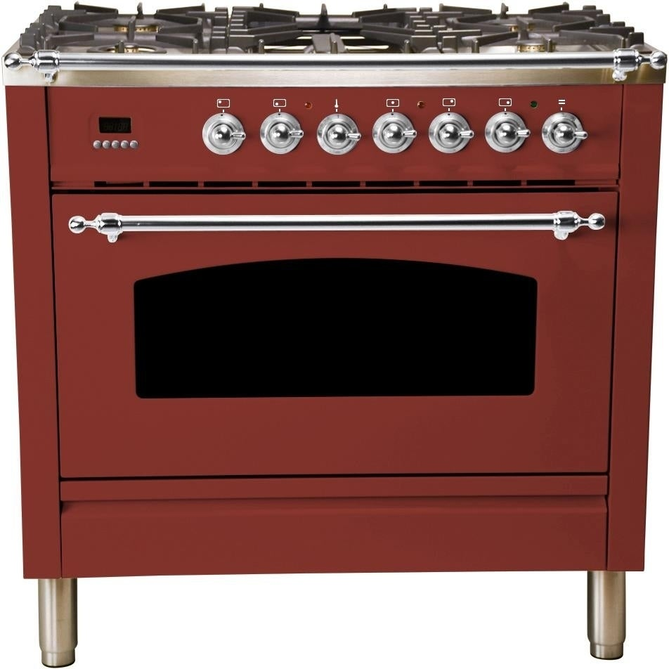 """Overstock Ilve UPN90FDMPRBX 36"""" Nostalgie Series Dual Fuel Natural Gas Range, with Chrome Trim, in Burgundy"""
