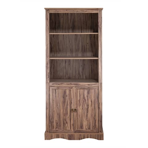 """Simplicity Bookcase with 3 Shelves and 2 Doors - 32"""" x 17.38"""" x 71.63"""""""