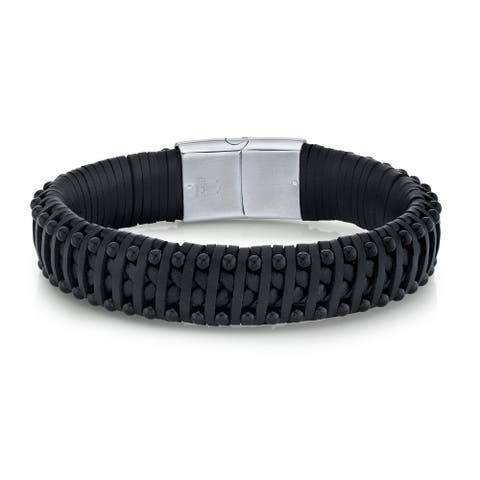 Spartan Men's Black Agate Beads and Man-Made Black Leather Bracelet