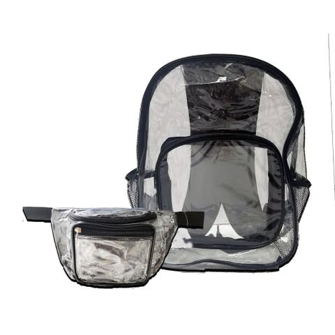 Clear Backpack & Clear Fannypack Large Heavy Duty & See Through Combo Pack Perfect for School + Sporting Events