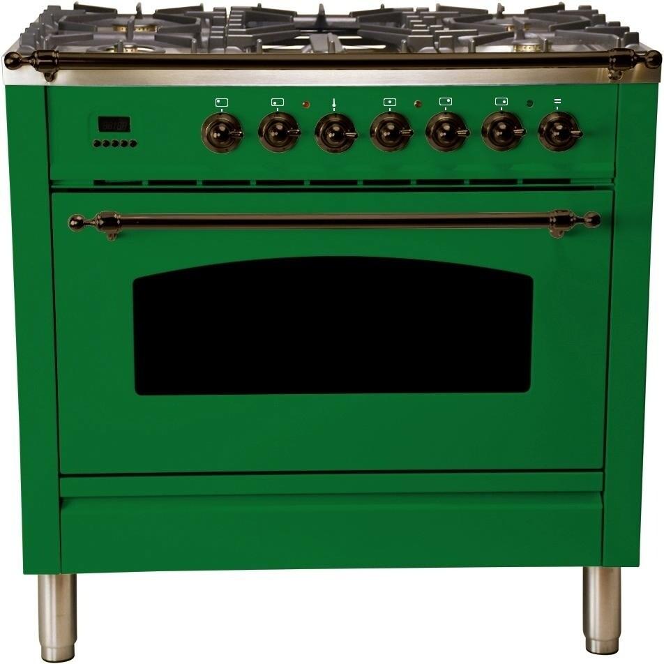 """Overstock Ilve UPN90FDMPVSYLP 36"""" Nostalgie Series Dual Fuel Liquid Propane Range, with Bronze Trim, in Emerald Green"""
