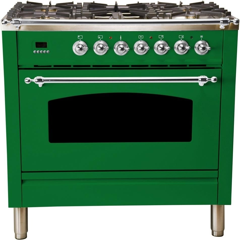 """Overstock Ilve UPN90FDMPVSX 36"""" Nostalgie Series Dual Fuel Natural Gas Range with Chrome Trim, in Emerald Green"""