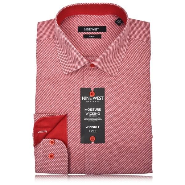 Nine West Mens Wrinkle-Free Slim Fit Printed Dress Shirt
