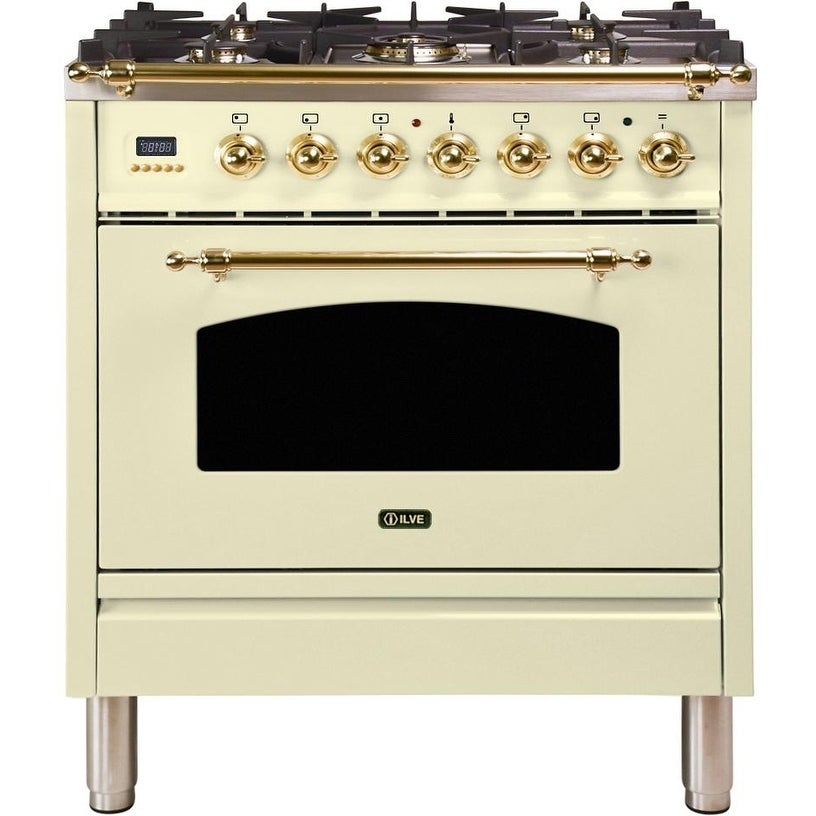 """Overstock Ilve UPN76DMPANG 30"""" Nostalgie Series Dual Fuel Natural Gas Range with 5 Sealed Burners, with Brass Trim, in Antique White"""