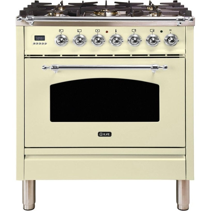 """Overstock Ilve UPN76DMPAXNG 30"""" Nostalgie Series Dual Fuel Natural Gas Range with 5 Sealed Burners, with Chrome Trim, in Antique White"""