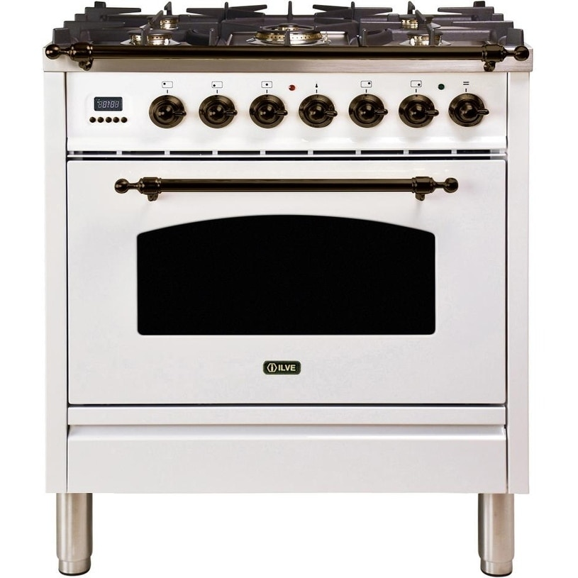 """Overstock Ilve UPN76DMPBYNG 30"""" Nostalgie Series Dual Fuel Natural Gas Range with 5 Sealed Burners, with Bronze Trim, in White"""
