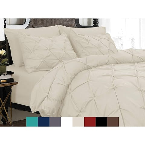 Porch & Den Secretariet Pinch Pleated Button Closure 3-piece Duvet Cover Set with Corner Ties
