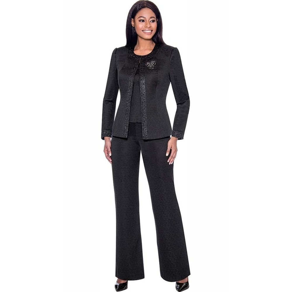 Terramina Womens 3 Piece Black Pant Suit