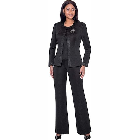 Terramina Women's 3 Piece Black Pant Suit