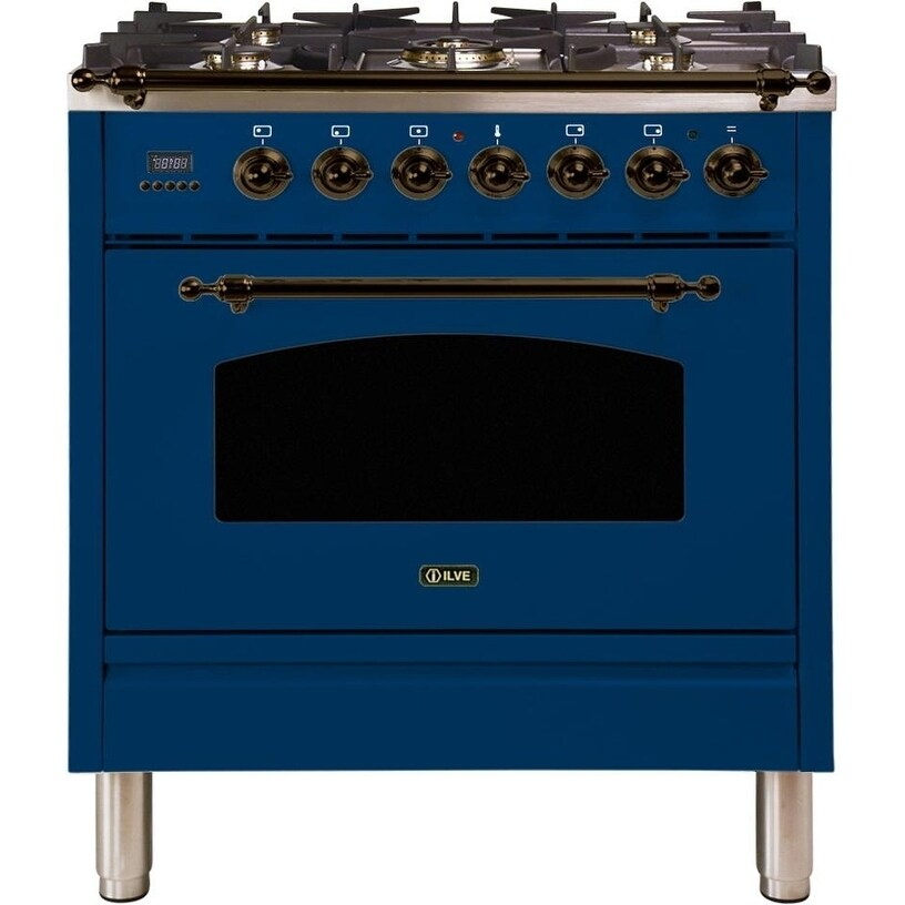 """Overstock Ilve UPN76DMPBLYNG 30"""" Nostalgie Series Dual Fuel Natural Gas Range with 5 Sealed Burners, with Bronze Trim, in Blue"""