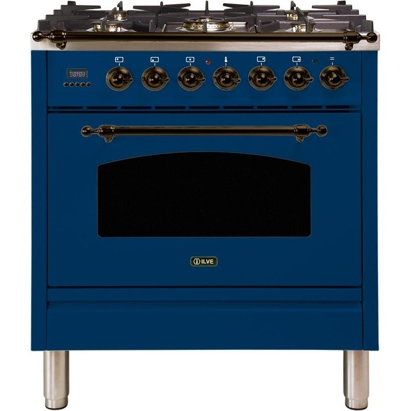"""Overstock Ilve UPN76DMPBLYLP 30"""" Nostalgie Series Dual Fuel Liquid Propane Range with 5 Sealed Burners, with Bronze Trim, in Blue (Blue)"""