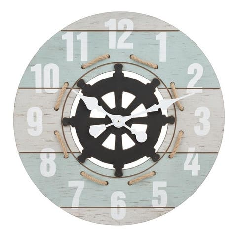 La Crosse Clock BBB85463 24 Inch Large Blue Coastal Quartz Wall Clock