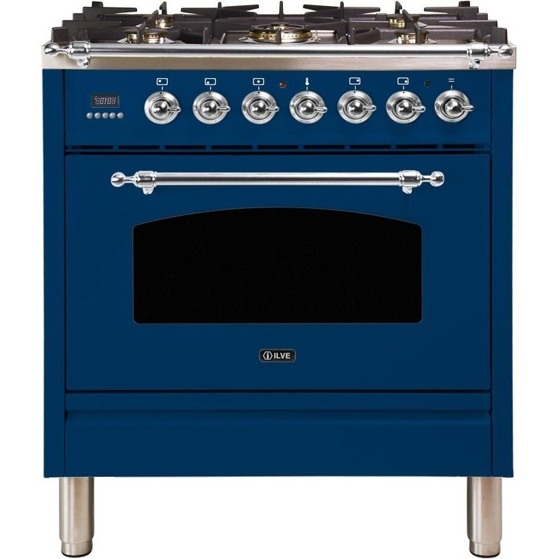 """Overstock Ilve UPN76DMPBLXNG 30"""" Nostalgie Series Dual Fuel Natural Gas Range with 5 Sealed Burners, with Chrome Trim, in Blue"""