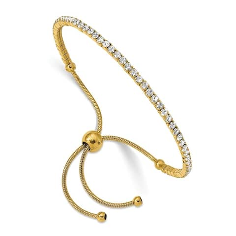 Chisel Stainless Steel Polished Yellow IP-plated Preciosa Crystal Adjustable Bracelet