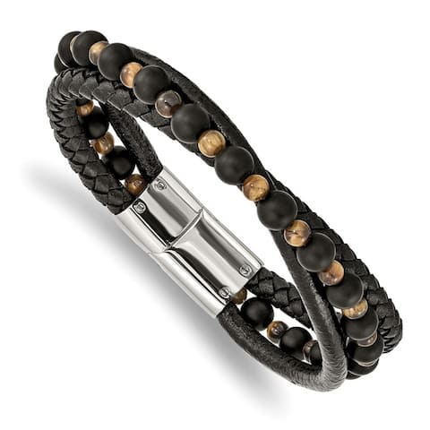 Chisel Stainless Steel Polished with Tiger's Eye and Black Agate Leather 8.25 Inch Bracelet