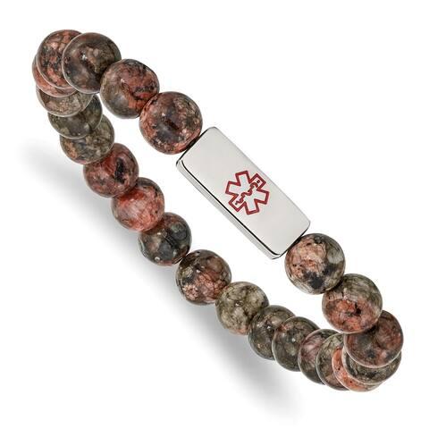 Chisel Stainless Steel Polished Enamel Medical ID Poppy Jasper Stretch Bracelet