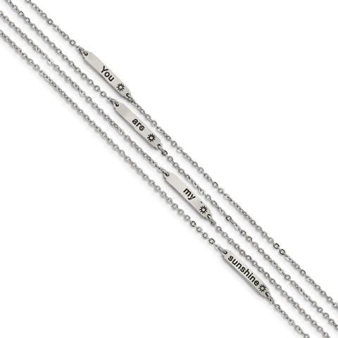 Chisel Stainless Steel Polished Enameled Sunshine 6.5 Inch with 0.75 Inch Extension Bracelet