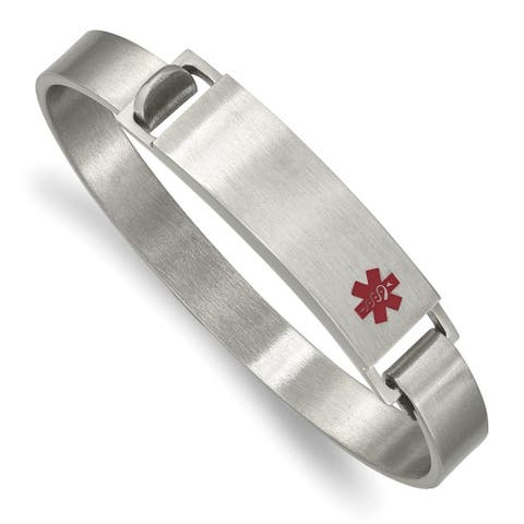 Chisel Stainless Steel Brushed with Red Enamel 8.00mm Medical ID Bangle