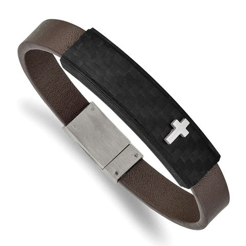 Chisel Stainless Steel Polished Solid Carbon Fiber Brown Faux Leather 8 Inch Bracelet