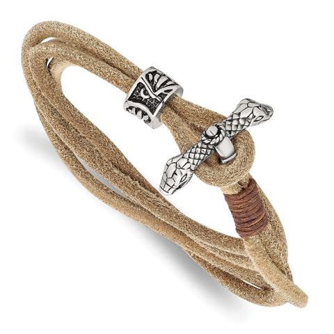 Chisel Stainless Steel Antiqued and Polished Snake Heads Leather 16 Inch Wrap Bracelet