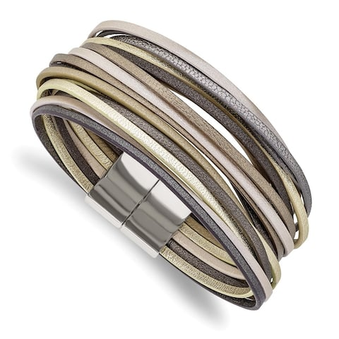 Chisel Stainless Steel Polished Multi Strand Metallic Faux Leather 7.25 Inch Bracelet