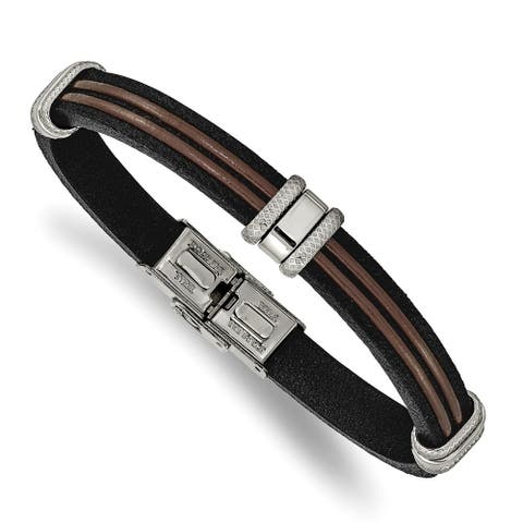 Chisel Stainless Steel Polished Black and Brown Leather 8.25 Inch Bracelet
