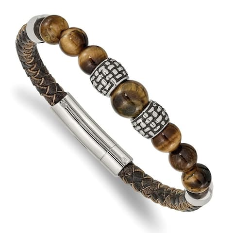 Chisel Stainless Steel Antiqued and Polished Tiger's Eye Leather 8.5 Inch Bracelet