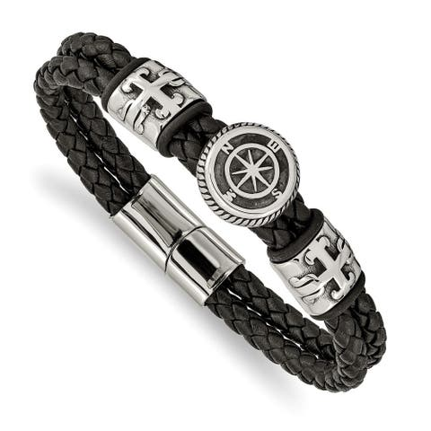 Chisel Stainless Steel Antiqued and Polished Black Leather with Rubber 8.25 Inch Bracelet